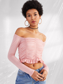 Off Shoulder Ruffle Hem Pleated Tee