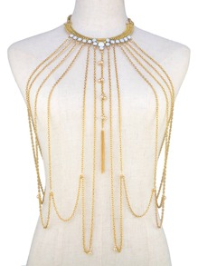 Rhinestone Layered Design Body Chain
