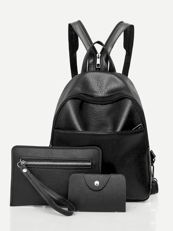 bb494b13ce Faux Leather Backpack Set 3pcs