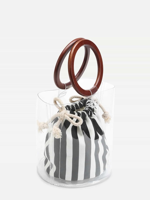 Striped Clear Wooden Handle Bag