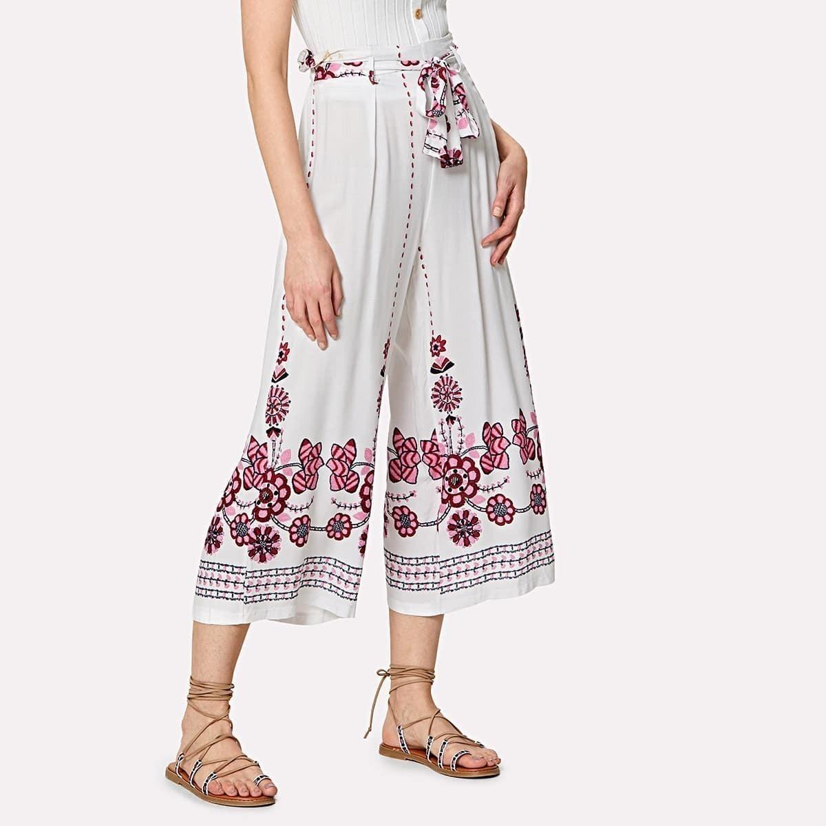- Flower Print Self Belted Culotte Pants