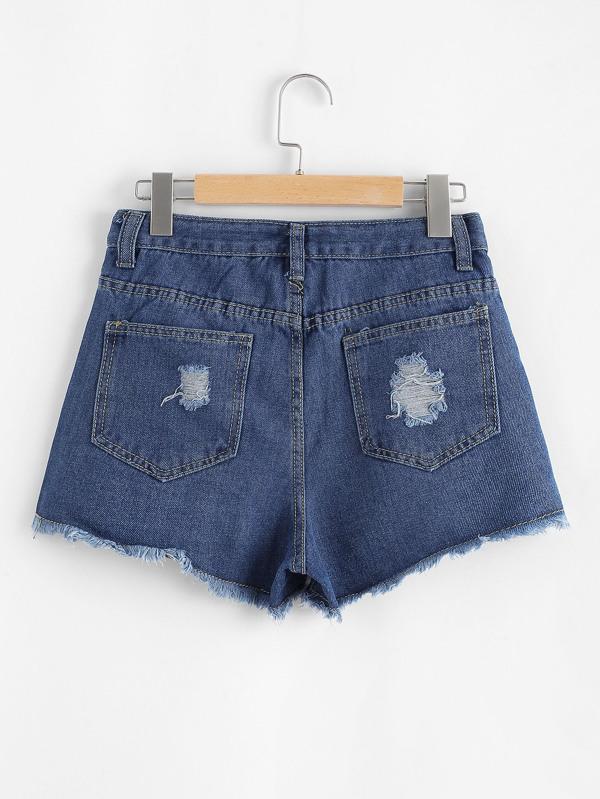 e0218827ab55 Raw Hem Ripped Denim Shorts   SHEIN UK