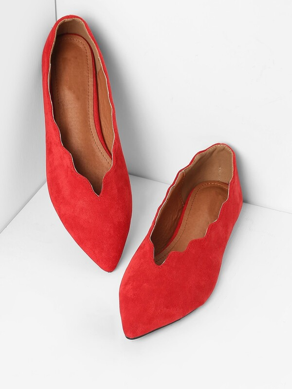 21e13ee31 Scalloped Trim Pointed Toe Flats | SHEIN