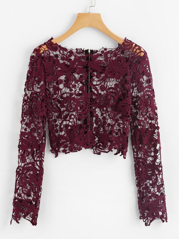 6c8df427559 Guipure Lace Exposed Zipper Back Crop Top | SHEIN IN