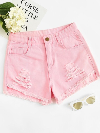 Raw Hem Ripped Denim Shorts