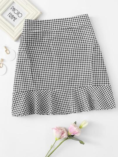 b739ff36d2 Ruffle Hem Checked Zip Up Skirt