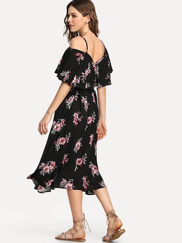 214e1ddb28 Cheap Flounce Cold Shoulder Floral Dress for sale Australia | SHEIN