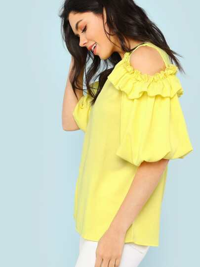 Cold Shoulder Ruffle Trim Bubble Sleeve Top LIGHT YELLOW