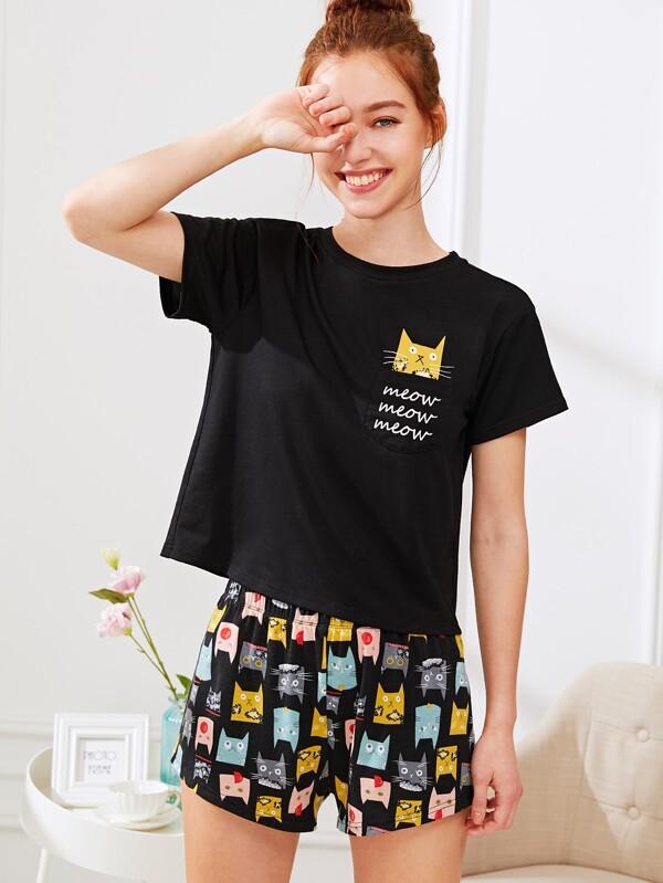 Imprimé Pyjama Shirt Ensemble Shorts Tee De Chatamp; qUSzGVMp