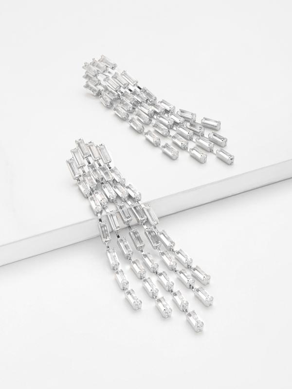 ab9b849883dd Rhinestone Overlay Tassel Chain Drop Earrings 1pair -SHEIN(SHEINSIDE)