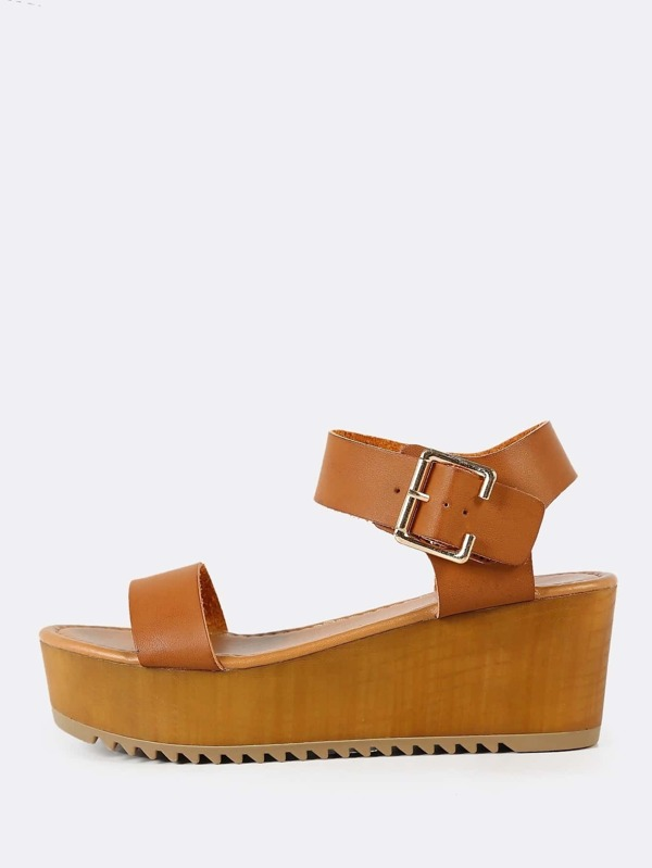 d5760d2a136122 Thick Buckled Ankle Strap Single Band Wedge Sandal TAN -SheIn(Sheinside)