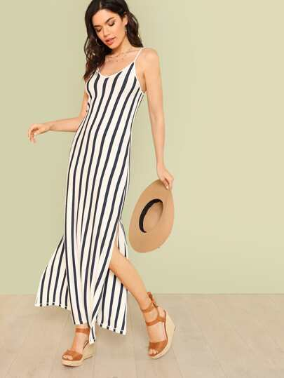 Stripe Print Maxi Dress with Lace Up Back and Side Slits WHITE NAVY