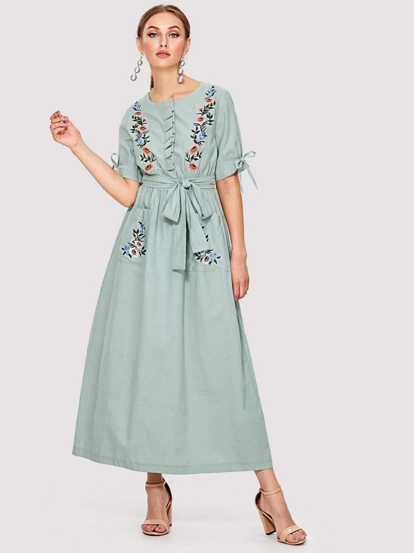 Flower Embroidered Pocket Front Hijab Long Dress, Green, Dary