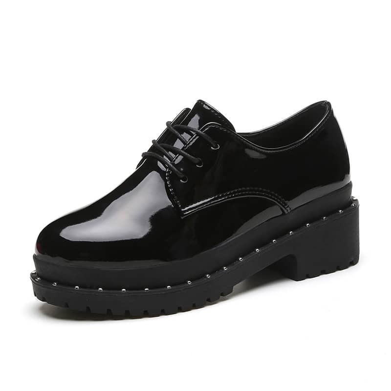 - Studded Patent Leather Oxfords