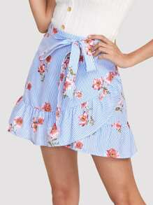 Stripe And Flower Print Overlap Ruffle Skirt