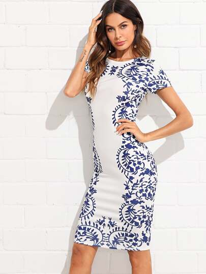 Porcelain Print Zip Back Dress