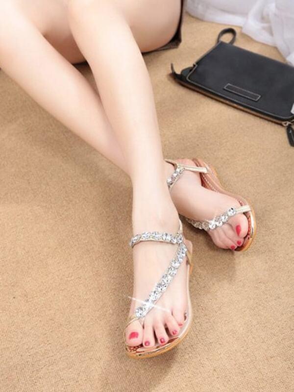 f2328770f2a0 Rhinestone Design Toe Ring Sandals Shein Sheinside