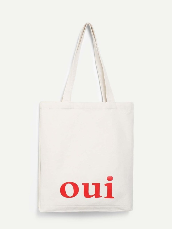 letter print canvas tote bag shein sheinside