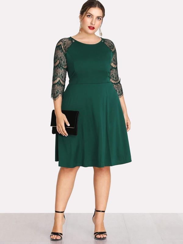 7227cb99ccc Cheap Plus Contrast Lace Sleeve Dress for sale Australia