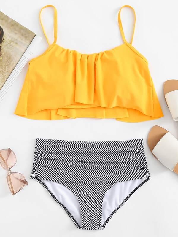 9b028b1809 Flounce Top With Striped Ruched High Waist Bikini | SHEIN