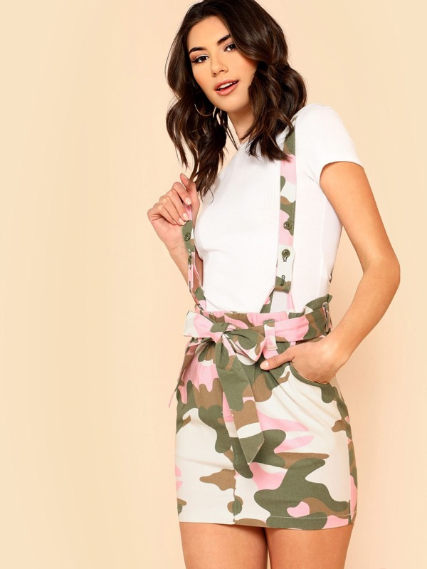 91ecbd21824cc Camo Print Suspender Skirt with Belt | SHEIN UK