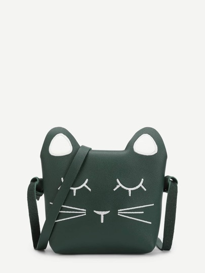 Cat Design Embroidered Detail Crossbody Bag