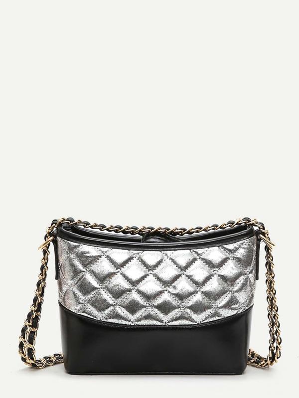 Two Tone Quilted Chain Bag Sheinsheinside