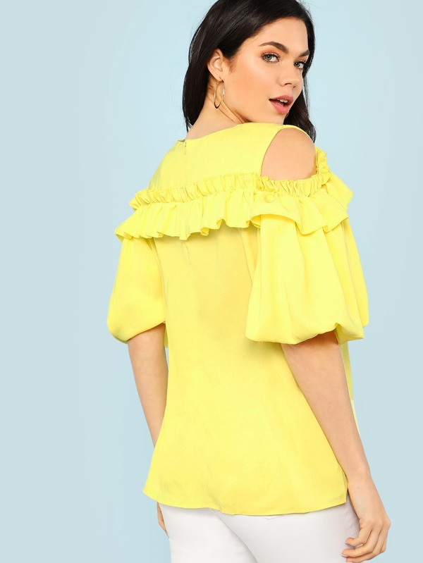 0c4fff80247203 Cold Shoulder Ruffle Trim Bubble Sleeve Top LIGHT YELLOW. AddThis Sharing  Buttons