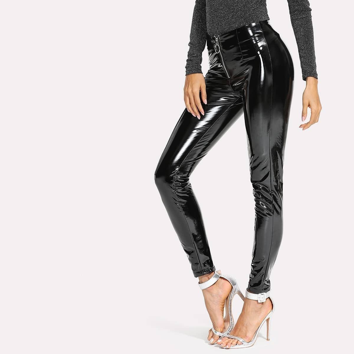 - Zip Front Patent Leather Pants