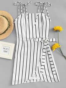 Striped Knot Side Cami Dress