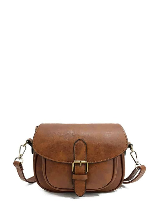 Buckle Detail Saddle Bag, Brown