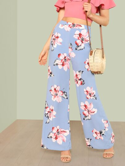 Floral Print Palazzo Pants PERIWINKLE BLUE