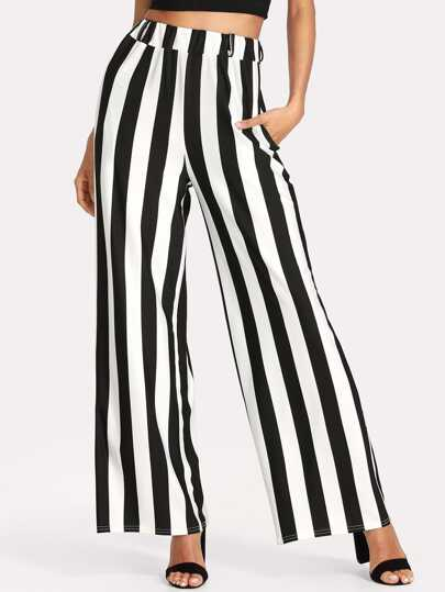 Contrast Stripe Wide Leg Pants