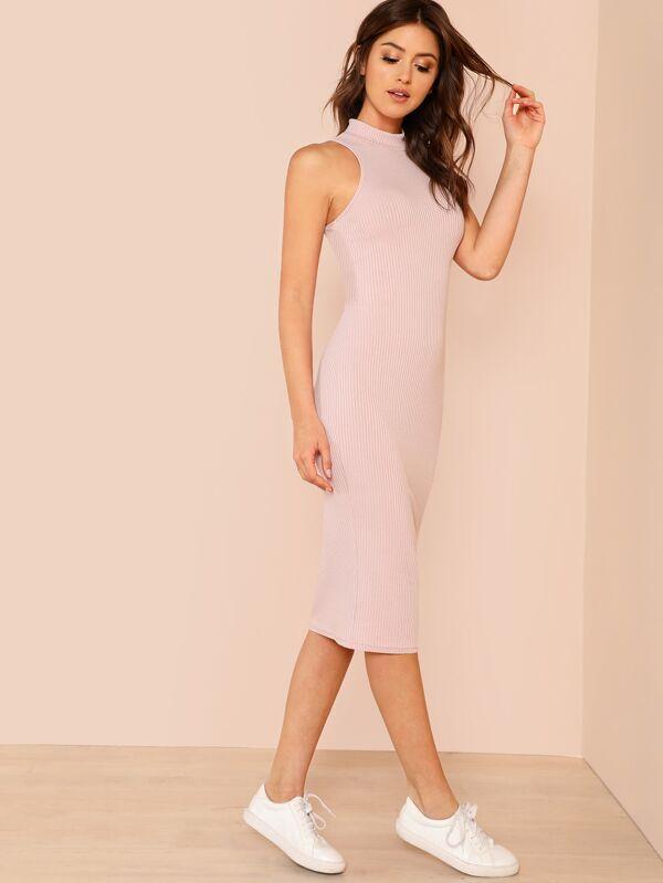 45fb9530246a Mock Neck Rib Knit Midi Dress   SHEIN IN
