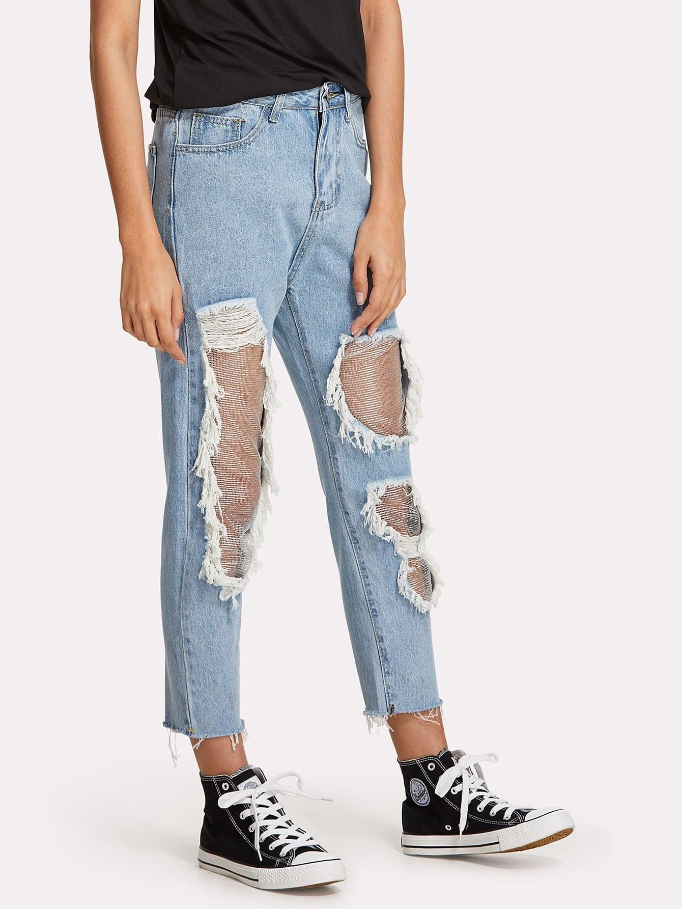 zerrissene jeans mit netzstoff german shein sheinside. Black Bedroom Furniture Sets. Home Design Ideas
