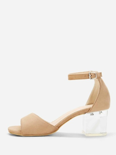 Two Part Clear Block Heels