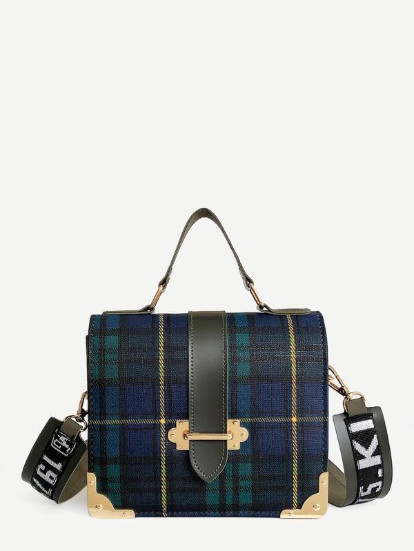 ac2cfab0c4 Metal Design Plaid PU Satchels Bag | SHEIN UK