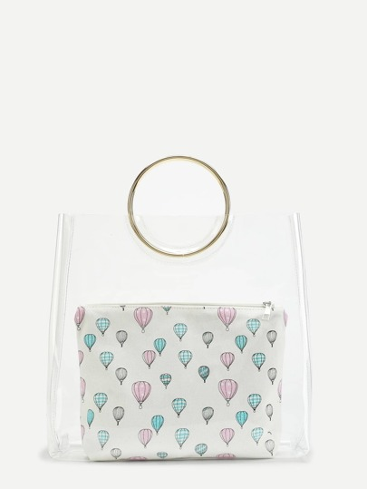 Double Ring Handle Clear Bag With Inner Clutch