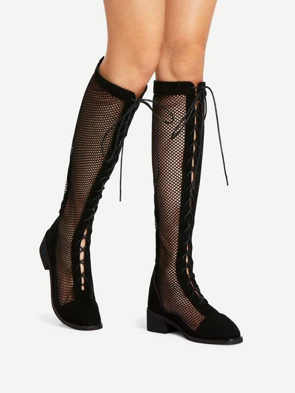 c69260488bf5b Cheap Lace Up Knee High Sheer Boots for sale Australia | SHEIN