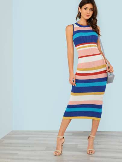 Striped Ribbed Knit Sleeveless Sweater Dress BLUE MULTI