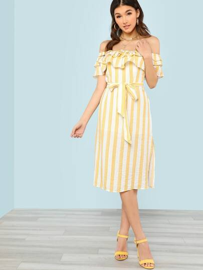 Striped Off Shoulder Ruffle Trim Dress with Tie Waist YELLOW