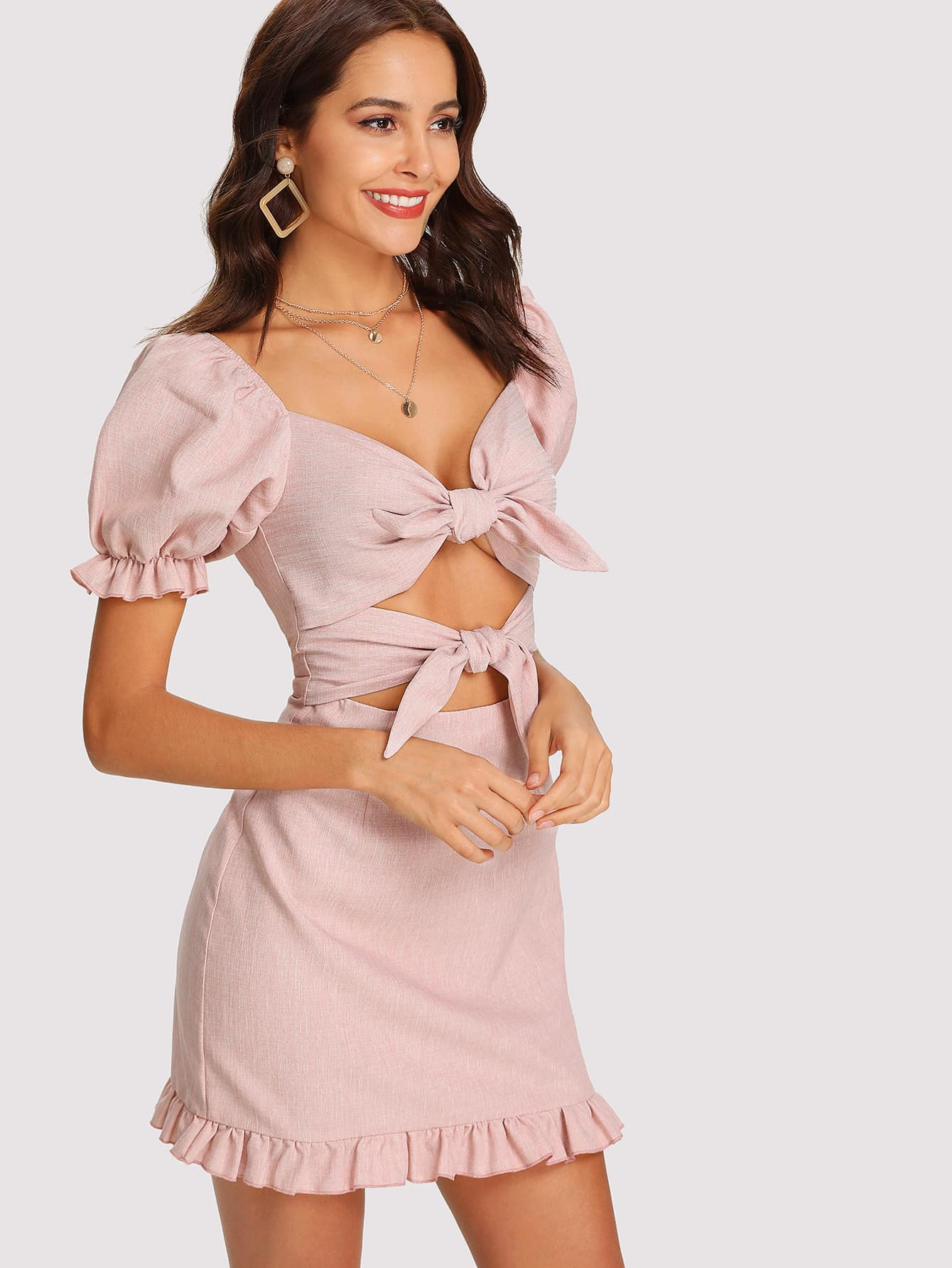 Knot Front Ruffle Trim Open Back Dress Shein Sheinside