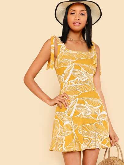 Self Tie Shoulder Tropical Dress