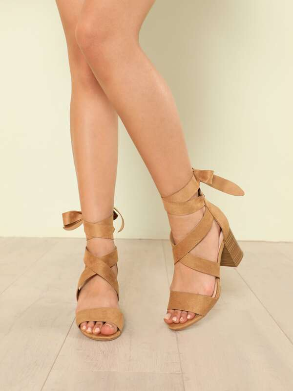 5900c09778a Faux Suede Ankle Wrap Strappy Chunky Heel CAMEL -SHEIN(SHEINSIDE)