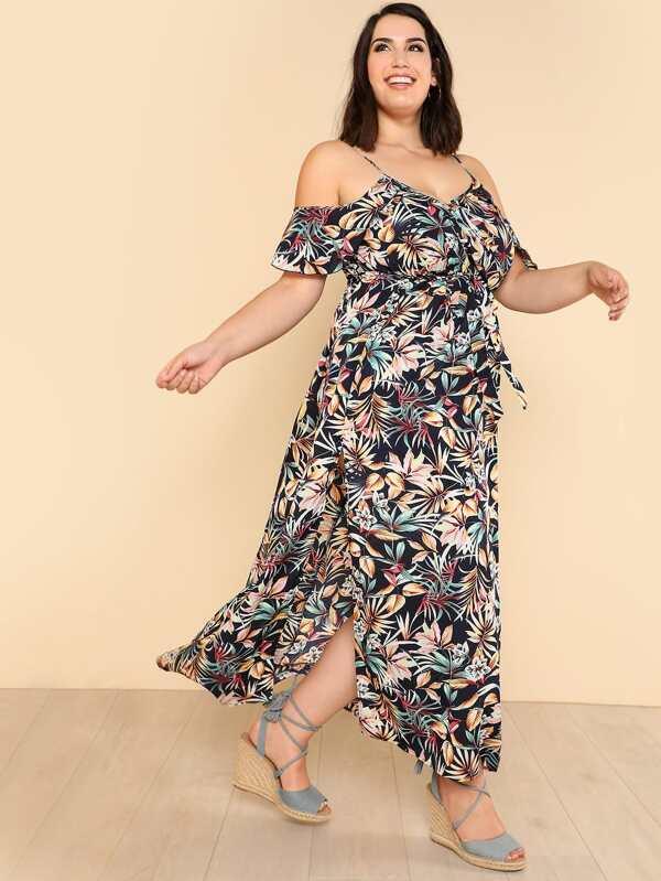 c5ee8fa2aa6 Plus Open Shoulder Tropical Wrap Dress