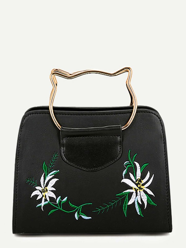 2a36445455 Flower Embroidery Tote Bag With Cat Ear Handle | SHEIN