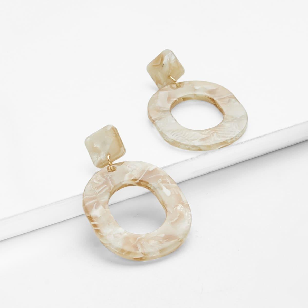 - Geometric Design Stone Earrings