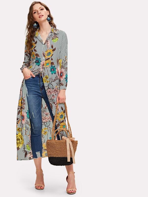 dbbf04a763 Vertical Striped Florals Longline Shirt