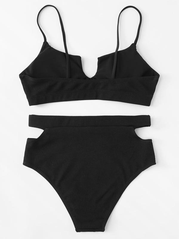db762c82c3a Ribbed Top With Cut-Out High Waist Bikini Set   SHEIN