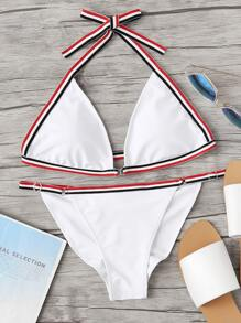 Striped Tape Triangle Top With High Cut Bikini